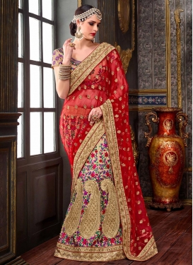 Booti Work Lehenga Saree For Bridal