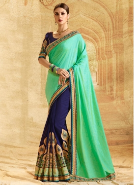 Booti Work Mint Green and Navy Blue Half N Half Saree