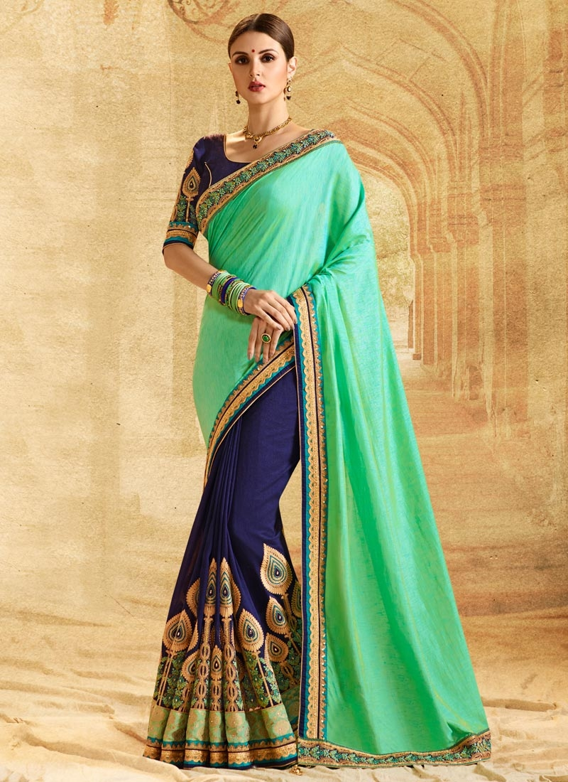 Buy Booti Work Mint Green And Navy Blue Half N Half Saree Online
