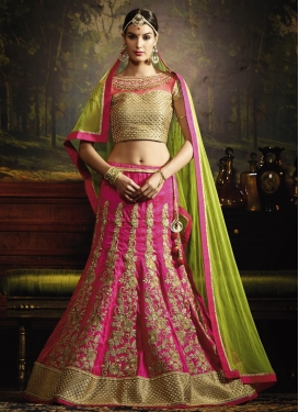 Booti Work Olive and Rose Pink Designer A Line Lehenga Choli