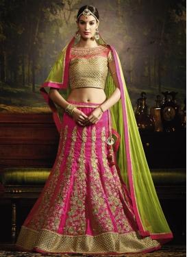 Booti Work Olive and Rose Pink Designer A Line Lehenga Choli