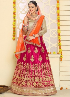 Booti Work Orange and Rose Pink Trendy A Line Lehenga Choli