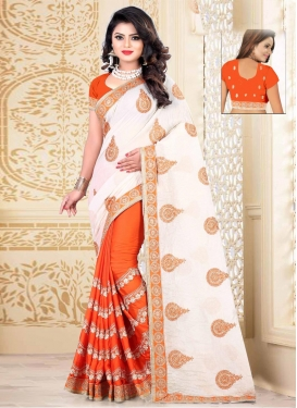 Booti Work Orange and White Half N Half Trendy Saree
