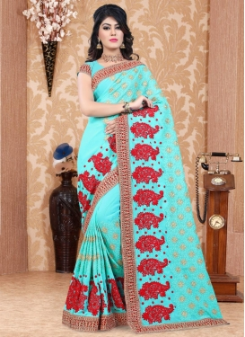 Booti Work Pure Georgette Traditional Saree