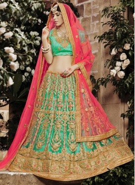 Booti Work Rose Pink and Turquoise A Line Lehenga Choli