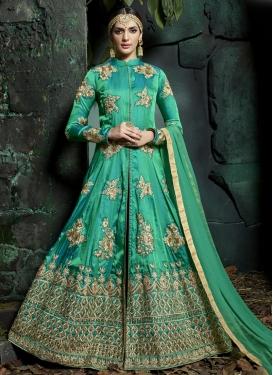 Booti Work Satin Silk Trendy Designer Salwar Kameez