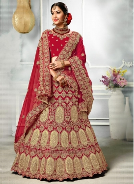 Booti Work Silk Trendy A Line Lehenga Choli