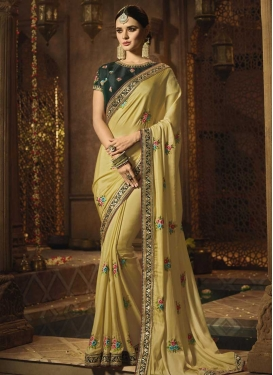 Bottle Green and Cream Designer Traditional Saree