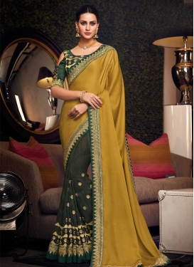 Bottle Green and Gold Art Silk Half N Half Saree