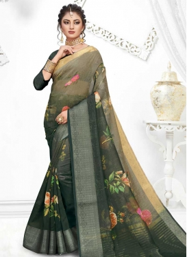 Bottle Green and Grey Digital Print Work Art Silk Contemporary Style Saree
