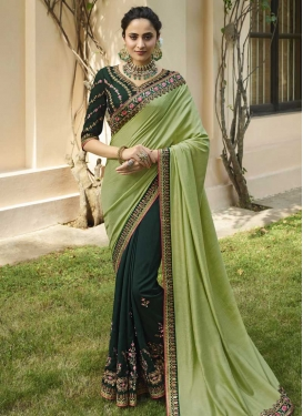 Bottle Green and Mint Green Beads Work Half N Half Trendy Saree