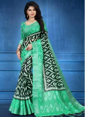 Bottle Green and Mint Green Digital Print Work Linen Designer Traditional Saree