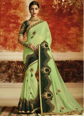 Bottle Green and Mint Green Embroidered Work Designer Contemporary Saree