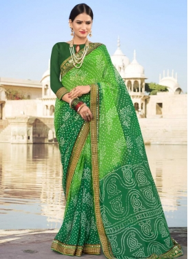 Bottle Green and Mint Green Traditional Saree For Festival