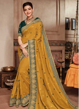Bottle Green and Mustard Designer Contemporary Style Saree