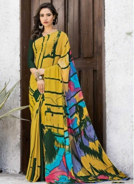 Bottle Green and Mustard Silk Georgette Trendy Classic Saree