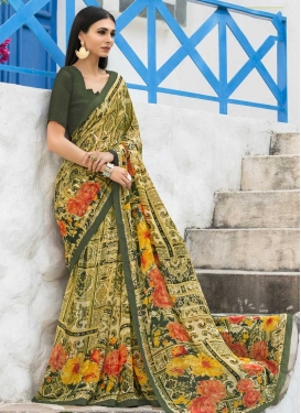 Bottle Green and Olive Digital Print Work Trendy Saree