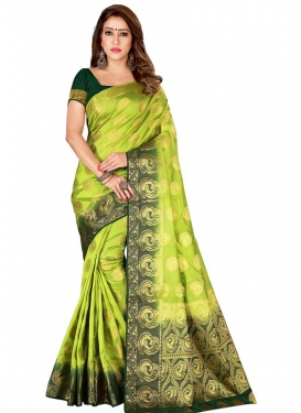 Bottle Green and Olive Thread Work Trendy Classic Saree