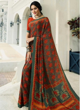 Bottle Green and Orange Digital Print Work Contemporary Saree