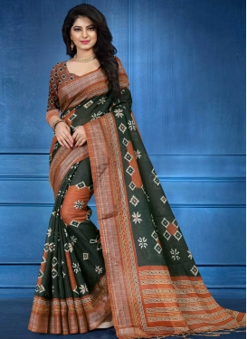 Bottle Green and Orange Digital Print Work Contemporary Style Saree