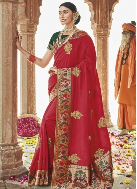 Bottle Green and Red Art Silk Classic Saree