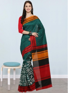 Bottle Green and Red Bhagalpuri Silk Trendy Classic Saree