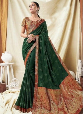 Bottle Green and Red Embroidered Work Contemporary Saree