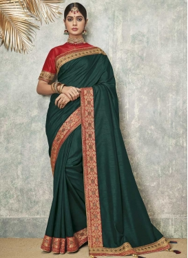 Bottle Green and Red Embroidered Work Designer Contemporary Saree