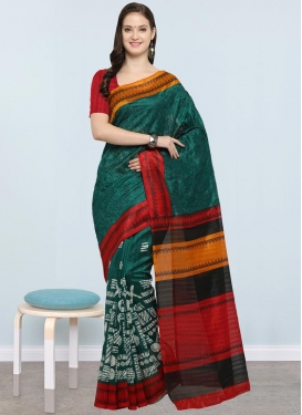 Bottle Green and Red Trendy Classic Saree For Casual