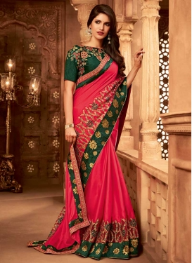 Bottle Green and Rose Pink Embroidered Work Designer Traditional Saree