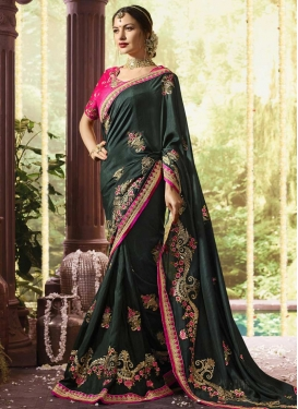 Bottle Green and Rose Pink Embroidered Work Trendy Saree