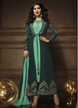 Bottle Green and Sea Green Faux Georgette Jacket Style Suit