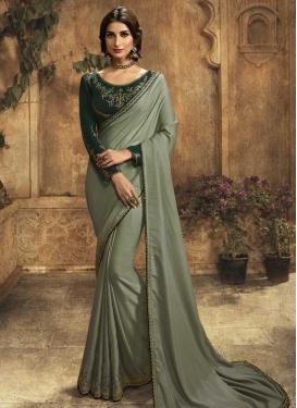 Bottle Green and Sea Green Satin Silk Designer Contemporary Style Saree