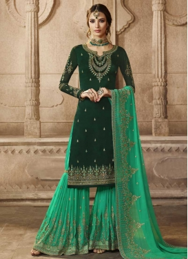 Bottle Green and Sea Green Sharara Salwar Kameez For Festival