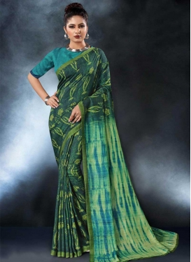 Bottle Green and Teal Digital Print Work Traditional Saree