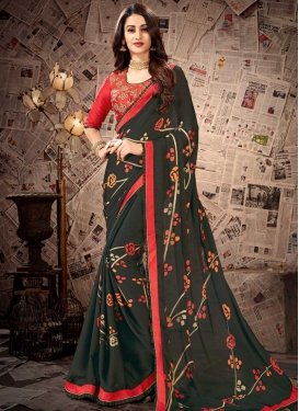 Bottle Green and Tomato Contemporary Saree For Casual