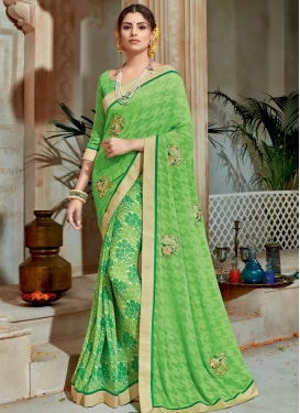 Brasso Georgette Abstract Print Work Trendy Classic Saree For Festival