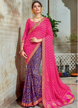Brasso Georgette Bandhej Print Work Purple and Rose Pink Half N Half Saree