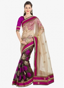 Brasso Georgette Beige and Brown Half N Half Designer Saree For Ceremonial