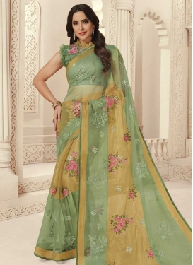 Brasso Georgette Beige and Sea Green Designer Contemporary Saree For Ceremonial