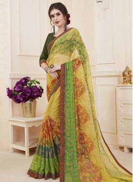 Brasso Georgette Digital Print Work Contemporary Style Saree