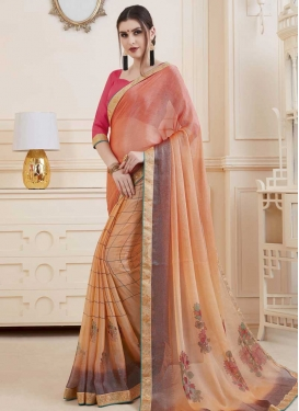 Brasso Georgette Digital Print Work Peach and Salmon Trendy Classic Saree