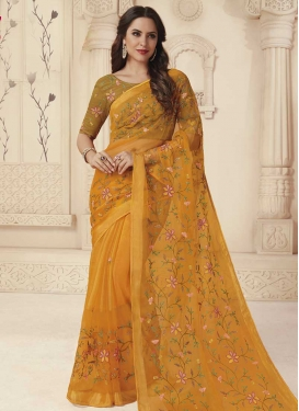 Brasso Georgette Embroidered Work Designer Traditional Saree