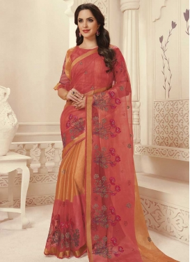 Brasso Georgette Embroidered Work Orange and Salmon Traditional Designer Saree