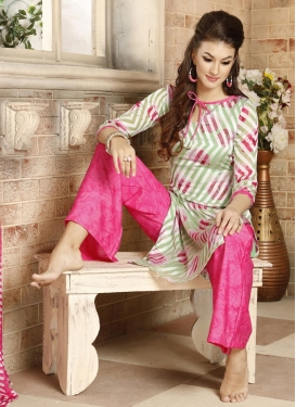 Brasso Georgette Mint Green and Rose Pink Palazzo Salwar Suit