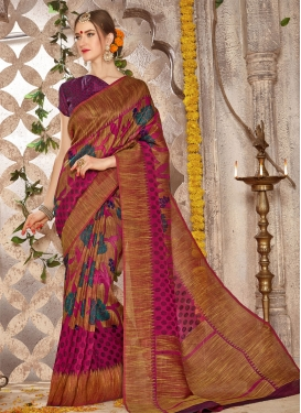 Brasso Georgette Print Work Traditional Saree