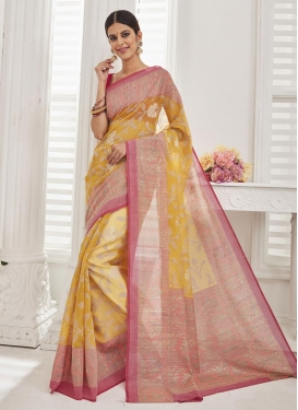 Brasso Georgette Thread Work Salmon and Yellow Trendy Classic Saree
