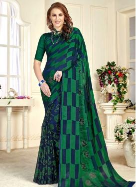 Brasso Green and Navy Blue Half N Half Trendy Saree