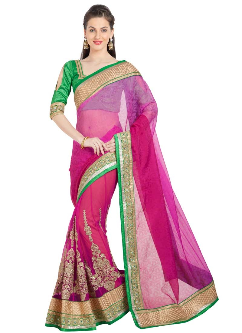 Brasso Green and Rose Pink Embroidered Work Classic Saree