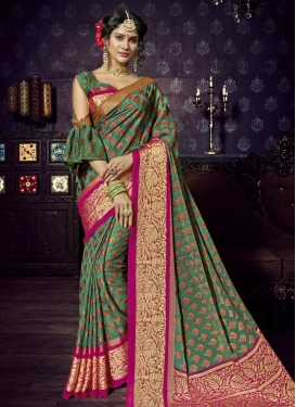 Brasso Green and Rose Pink Trendy Saree For Festival